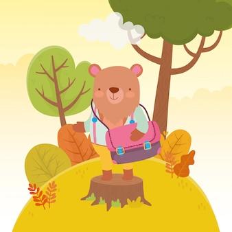Обратно в школу образования медведь с мешком дерева