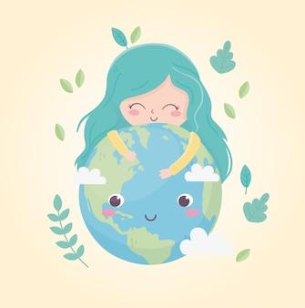 Милая девушка обнимает мир оставляет экологию окружающей среды