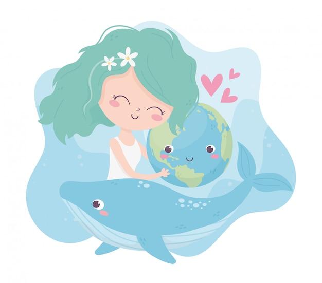 Симпатичная девушка обнимает мир китов любовь сердца окружающей среды