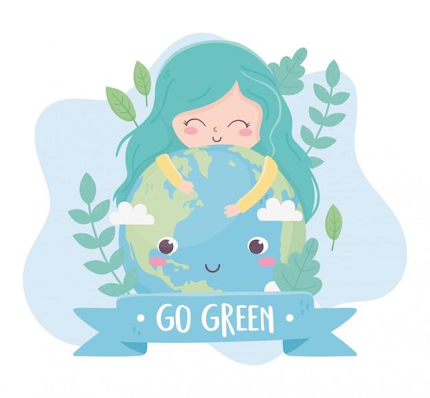 Симпатичная девушка обнимает мир растений природа окружающая среда экология
