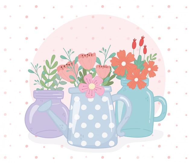 石工の瓶と水まき缶の花