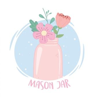 ピンクのメイソンジャー花