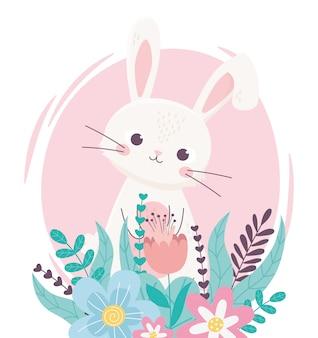 Счастливой пасхи прекрасный кролик с цветами листвой цветочным декором