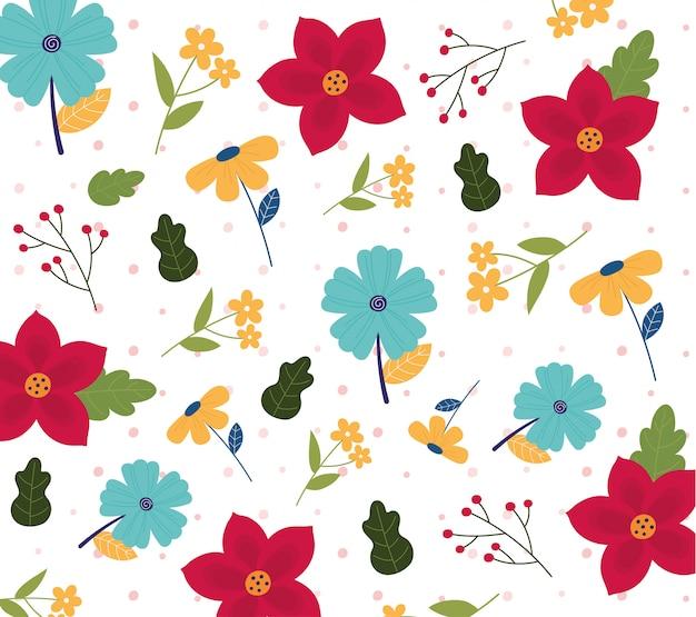 Счастливые весенние цветы цветочные листья листва бесшовный фон