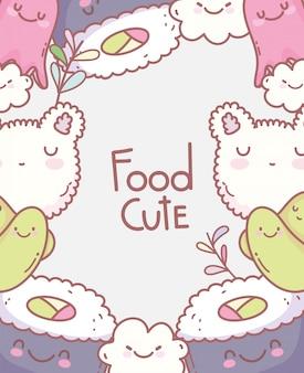 Суши осьминога рис лицо мультфильм еда мило