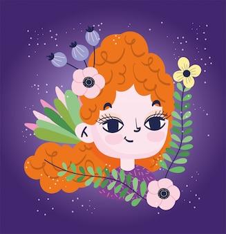 Симпатичная девушка вьющиеся волосы с цветами листвы ботаники
