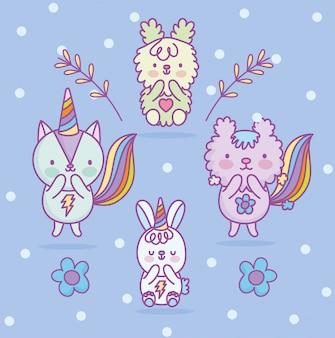Милый кот кролик белка мышей хвост радуга цветы карикатура иллюстрации