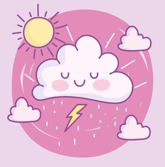 Милый мультфильм облака солнце удар молнии иллюстрация