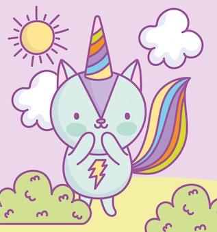 Милая белка радуга хвост партия шляпа облака солнце трава мультфильм иллюстрации