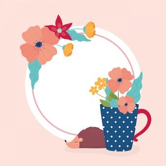 Привет весенний ежик цветы в вазе шаблон оформления