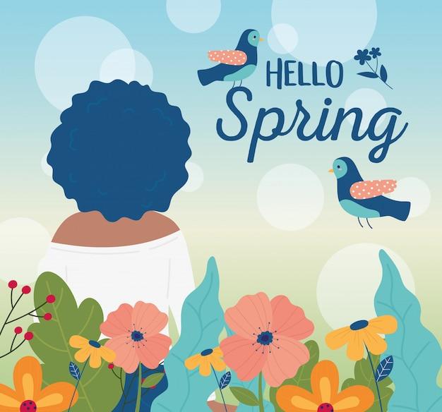 こんにちは春バックビュー女性鳥花装飾カード