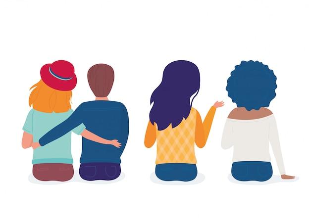 受け入れカップルと女性一緒に漫画のキャラクターの背面図