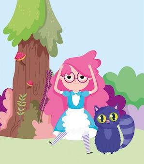 Девочка и кошка дерево трава в стране чудес