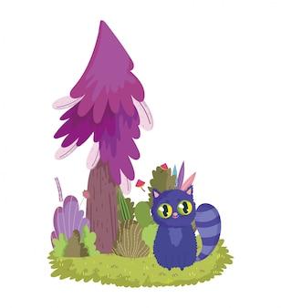 Страна чудес, кошачье дерево, листва, гриб, луг