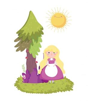 Девушка дерево кустарник трава в стране чудес