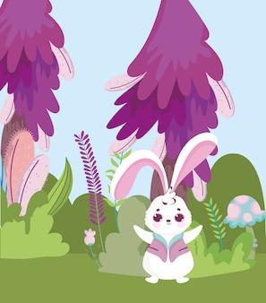 Страна чудес, кролик, гриб, кустарник, трава, листва