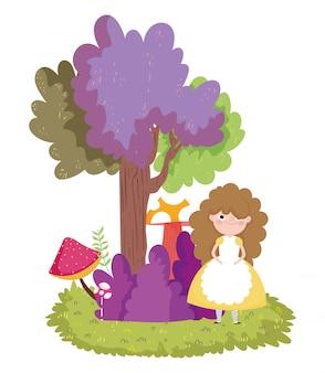 Девушка лес дерево куст гриб природа
