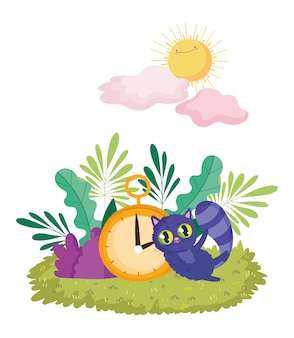 Страна чудес, кошка и часы листва природа солнце облака мультфильм