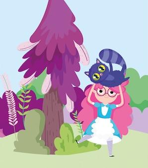 Девушка держит кошку дерево кусты луг в стране чудес