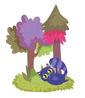 Страна чудес, кошачьи деревья, растение, луг, мультфильм