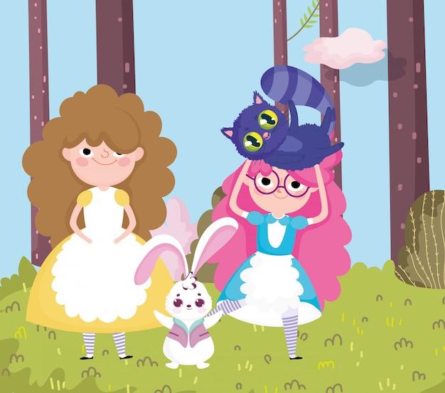 Девочки и кролик трава дерево лес природа