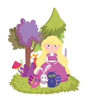 Кролик и кошки деревья гриб в стране чудес