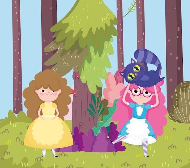 不思議の国の猫の木の森の牧草地を持つ少女