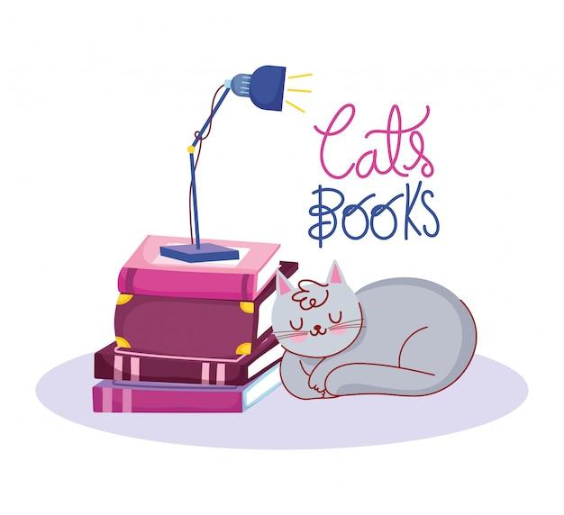 本の日、本に猫ランプを眠っています。