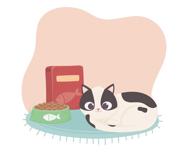 猫は私を幸せにします、ボウルの食べ物とカーペットの漫画の箱を持つ猫