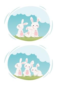 ハッピーイースターの日、草漫画ラベルでかわいい白いウサギ
