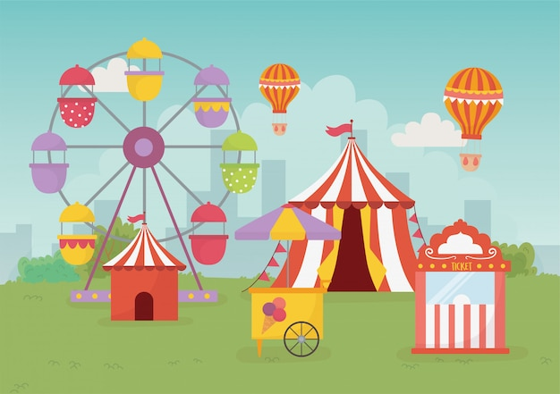 Веселая ярмарка карнавальная палатка воздушный шар стенд билеты колесо обозрения отдых развлечения