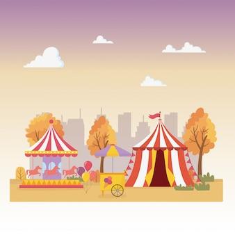 Веселая ярмарка карнавальная палатка карусель киоск мороженого город отдыха развлечения