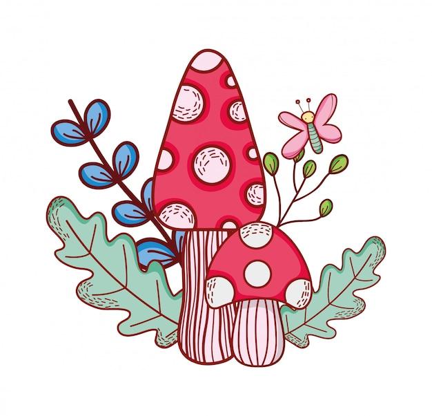 Милые грибы бабочка ветка листья мультфильм