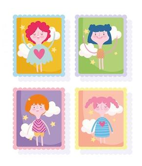 かわいい切手、漫画コミックの女の子と男の子の雲のアイコン