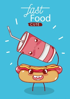 Фаст-фуд милый хот-дог и пластиковый стаканчик с соломенной иллюстрацией мультфильма
