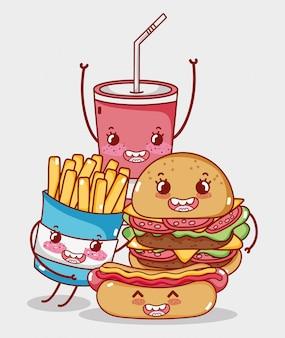 ファーストフードかわいいバーガーホットドッグフライドポテトとソーダカップ漫画