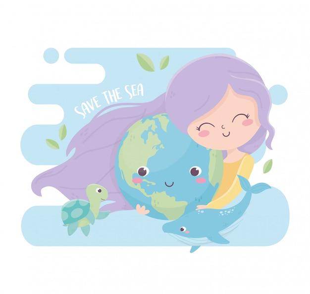 Симпатичная девушка с миром китов морской экологии окружающей среды