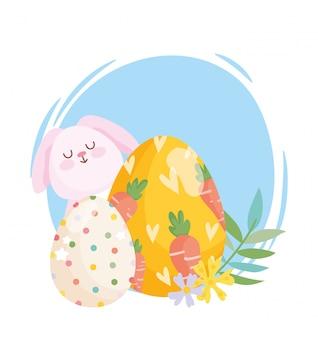 にんじんと点線の卵の花の装飾で描かれたハッピーイースター、白いウサギの卵