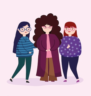 Группа людей женщин персонаж с повседневной одежды отдыха
