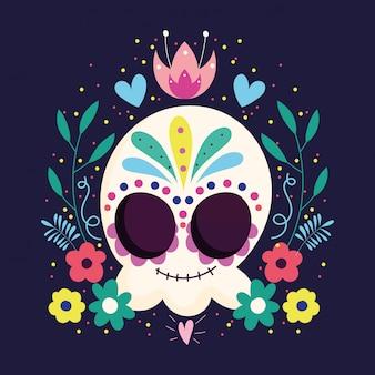 死者の日、カトリーナの頭蓋骨の花フレームの葉伝統的なメキシコのお祝い