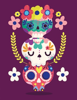 День мертвых, катрина цветы украшение традиционный праздник мексиканский