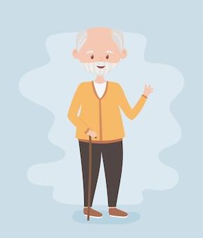 Пожилые люди, старший мужчина дедушка, дедушка, зрелый человек, мультипликационный персонаж