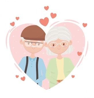 Старики, милая пара бабушек и дедушек в сердцах влюбленных героев мультфильмов