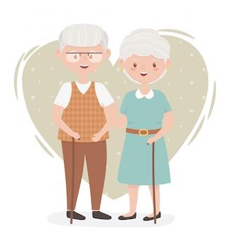 Старики, милая пара бабушек и дедушек, пожилые люди, члены семьи героев мультфильмов