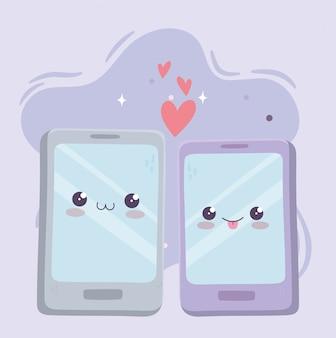 かわいいスマートフォンデバイスはかわいい漫画のキャラクターを愛する