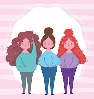 幸せな母の日、漫画のキャラクターの女性が一緒に立っています。