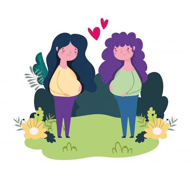 幸せな母の日、妊娠中の女性は花草で屋外の心を愛する