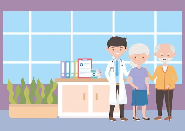 Врач, бабушка и дедушка в больнице, врачи и пожилые люди