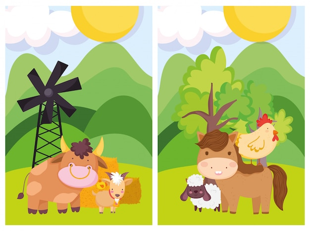 Животные фермы бык лошадь овца курица ветряная мельница деревья мультфильм