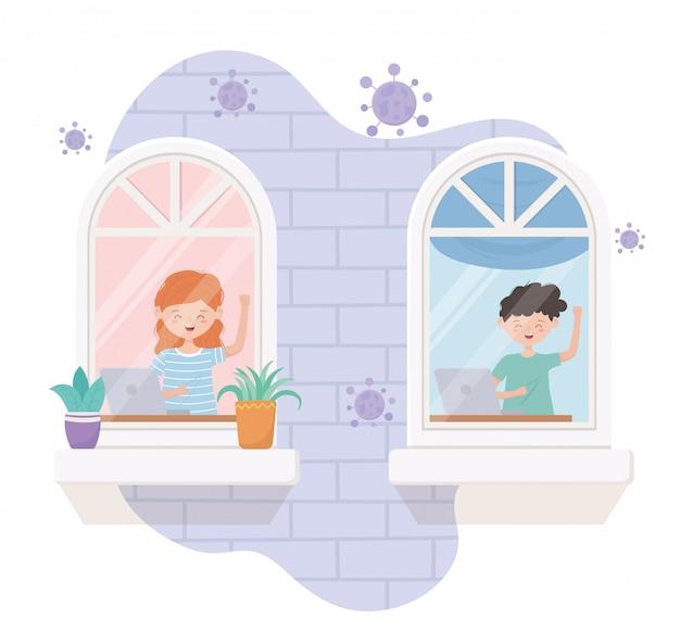 家の検疫、部屋の窓でラップトップを使用している人
